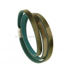 ROUND BRACELET IN &quotMILITARY&quot COLORED LEATHER WITH METAL CLOSURE
