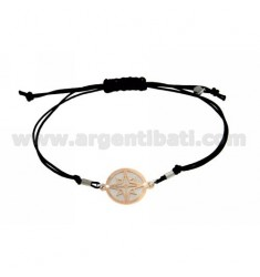 STRING BRACELET AND NECKLACE WITH ROUND ROSE OF THE WINDS ROSE GOLD PLATED SILVER 925