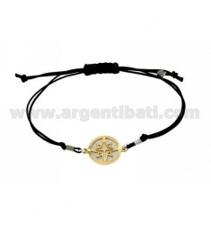 STRING BRACELET AND NECKLACE WITH ROUND ROSE GOLD PLATED SILVER WINDS OF 925