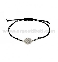 STRING BRACELET AND NECKLACE WITH ROUND ROSE OF THE WINDS IN SILVER RHODIUM 925