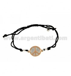 STRING BRACELET AND NECKLACE WITH ROUND SYMBOL OF PEACE ROSE GOLD PLATED SILVER 925