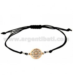 STRING BRACELET AND NECKLACE WITH ROUND ROSE GOLD SILVER PLATED STEERING 925