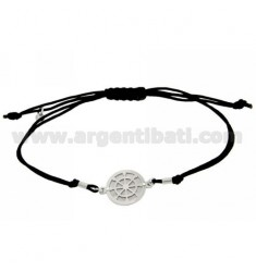 STRING BRACELET AND NECKLACE WITH ROUND HELM IN SILVER RHODIUM 925
