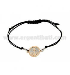 STRING BRACELET WITH CHARM AND STILL WITH ROUND ROSE GOLD PLATED SILVER 925