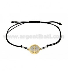 STRING BRACELET AND NECKLACE WITH ROUND AGAIN GOLD PLATED SILVER 925