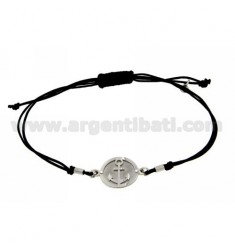 STRING BRACELET AND NECKLACE WITH ROUND AGAIN IN SILVER RHODIUM 925