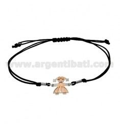 STRING BRACELET WITH CHARM IN THE SHAPE OF GIRL AND ROSE GOLD PLATED SILVER 925
