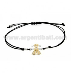 STRING BRACELET WITH CHARM AND A FORM OF GIRL IN GOLD PLATED SILVER 925