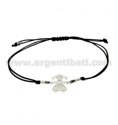 STRING BRACELET WITH CHARM AND A FORM OF GIRL IN SILVER RHODIUM 925