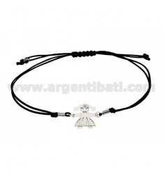 STRING BRACELET WITH CHARM AND SHAPED DIAMOND GIRL WITH INSIDE SILVER RHODIUM 925