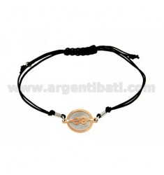 CORD NECKLACE AND BRACELET WITH SAILOR KNOT WITH ROUND ROSE GOLD PLATED SILVER 925
