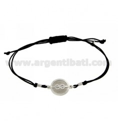 STRING BRACELET AND NECKLACE WITH ROUND SAILOR KNOT SILVER RHODIUM 925