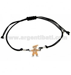 BRACELET WITH CHARM AND CORD SHAPED BIMBO PLATED PINK GOLD SILVER 925 ‰