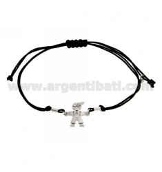 BRACELET WITH CHARM AND CORD SHAPED BABY SILVER RHODIUM 925 ‰
