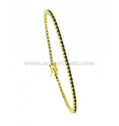 2 MM TENNIS BRACELET IN YELLOW GOLD PLATED AG TIT 925 BLACKS AND ZIRCONIA