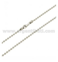 MILITARY BALL CHAIN 2.5 MM 60 CM IN SILVER RHODIUM-PLATED 925 ‰