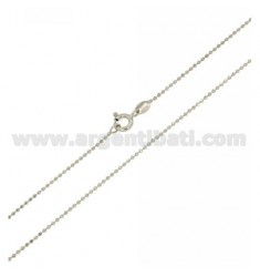 BALL CHAIN FACETED 1,2 CM 60 MM IN RHODIUM-PLATED SILVER 925 ‰