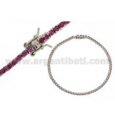 BRACCIALE TENNIS MM 1,5 IN ARGENTO RODIATO 925‰ E ZIRCONI ROSSI