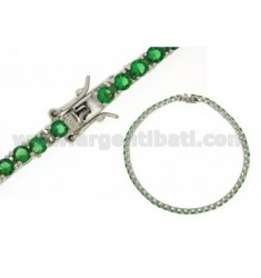 BRACCIALE TENNIS MM 3 IN ARGENTO PLACCATO RODIO TIT 925‰ E ZIRCONI VERDE