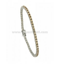 BRACCIALE TENNIS MM 3 IN ARGENTO RODIATO 925‰ E ZIRCONI CHAMPAGNE