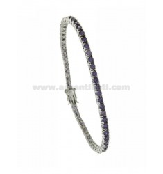 BRACCIALE TENNIS MM 3 IN ARGENTO PLACCATO RODIO TIT 925‰ E ZIRCONI VIOLA