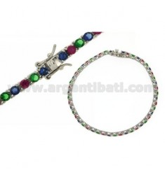 TENNIS BRACELET IN SILVER RHODIUM 925 MM 3 ‰ AND ZIRCONIA BLUE, GREEN AND RED