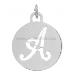 PENDANT ROUND 32 MM WITH PERFORATED LETTER IN AG TIT 925 ‰ RHODIUM