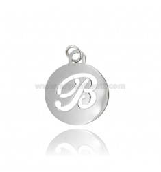 PENDANT ROUND 32 MM WITH LETTER B PERFORATED IN AG TIT 925 ‰ RHODIUM
