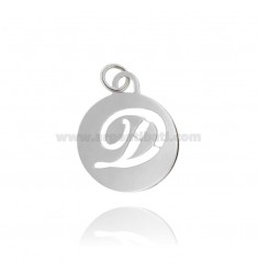PENDANT ROUND 32 MM WITH LETTER OF TRAFORE IN AG TIT 925 ‰ RHODIUM