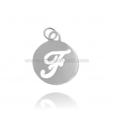 PENDANT ROUND 32 MM WITH LETTER F PERFORATED IN AG TIT 925 ‰ RHODIUM