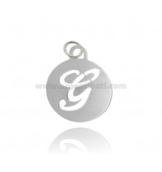 PENDANT ROUND 32 MM WITH LETTER G PERFORATED IN AG TIT 925 ‰ RHODIUM