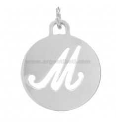 PENDANT ROUND 32 MM WITH LETTER M PERFORATED IN AG TIT 925 ‰ RHODIUM