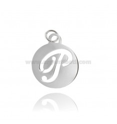 PENDANT ROUND 32 MM WITH LETTER P PERFORATED IN AG TIT 925 ‰ RHODIUM