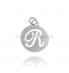 PENDANT ROUND 32 MM WITH LETTER R PERFORATED IN AG TIT 925 ‰ RHODIUM