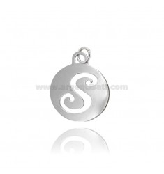 PENDANT ROUND 32 MM WITH LETTER S PER PERFORATED IN AG TIT 925 ‰ RHODIUM
