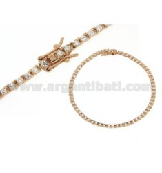 2 MM GOLD PLATED TENNIS BRACELET ROSE.AG.TIT 92.5 ‰ AND ZIRCONIA WHITE
