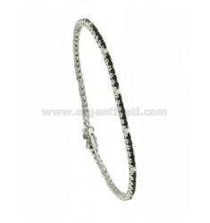 TENNIS BRACELET RHODIUM PLATED 2 MM IN TIT AG.925 AND ZIRCONIA WHITE AND BLACKS