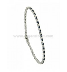 TENNIS BRACELET RHODIUM PLATED 2 MM IN TIT AG.925 AND ZIRCONIA WHITE AND BLUE