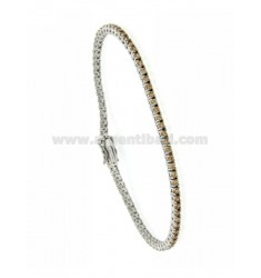 BRACCIALE TENNIS MM 2 PLACCATO RODIO IN AG. TIT. 92.5‰ E ZIRCONI CHAMPAGNE