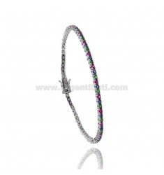 TENNIS BRACELET RHODIUM PLATED MM 2.AG AT.TIT 92.5 ‰ ZIRCONIA AND RED GREEN AND BLUE