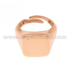 PINKY RING SQUARE ROSE GOLD PLATED SILVER 925 ‰