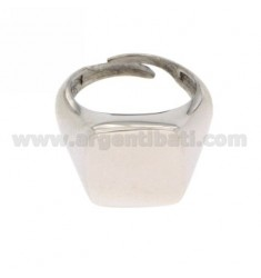 SQUARE PINKY RING RHODIUM SILVER 925 ‰
