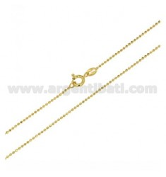 BALL CHAIN FACETED YELLOW GOLD PLATED MM 1,2 CM 60 IN AG TIT 925 ‰