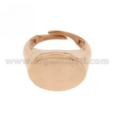 LITTLE FINGER RING ADJUSTABLE HORIZONTAL OVAL ROSE GOLD PLATED 925