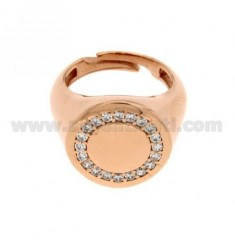 PINKY RING ROUND GOLD PLATED AND ZIRCONIA WHITE ROSE 925 ‰