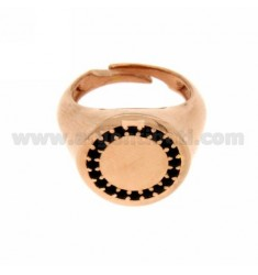 PINKY RING ROUND SILVER PLATED ROSE GOLD 925 ‰ BLACKS AND ZIRCONIA