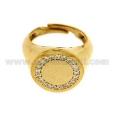 PINKY RING ROUND SILVER PLATED AND ZIRCONIA WHITE GOLD 925 ‰