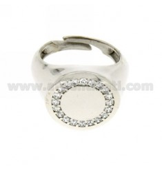 ROUND LITTLE FINGER RING RHODIUM SILVER 925 ‰ AND ZIRCONIA WHITE
