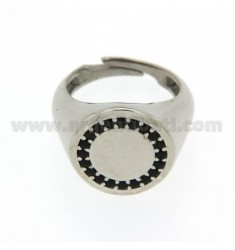 ROUND LITTLE FINGER RING RHODIUM SILVER 925 ‰ BLACKS AND ZIRCONIA