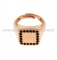 PINKY RING IN SILVER PLATED SQUARE ROSE GOLD 925 ‰ BLACKS AND ZIRCONIA